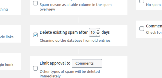 Delete spam after a couple of days.